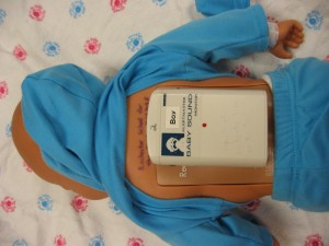 RealCare Baby infant simulator adjusted for deaf students' use